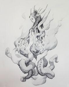 ArtStation - Mermaids and demons, Viktor Titov Art And Illustration, Character Illustration, Art Sketches, Art Drawings, Character Art, Character Design, Creature Concept, Creature Design, Art Sketchbook