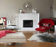 Contemporary Living Room with Refaced Fireplace   photo Janis Nicolay  design Nancy Riesco & Rebecca Lapres   House & Home