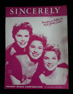 Sincerely Vintage Sheet Music 1954 Recorded and Featured by | Etsy