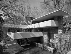 Fallingwater, Frank Lloyd Wright, Bear Run, PA - 1971. Photographed by Ezra Stroller.