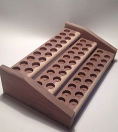 This Handmade Essential Oil Rack is made of Walnut Oak Cedar or Pine and designed to sit on your dresser, counter, or shelf. It is designed Click VISIT link above for more info