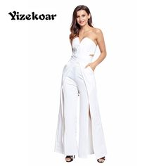 3aa6f973af2 Yizekoar Long Jumpsuit New Sexy Red White Strapless Wide Slit Legs Womens  Rompers one piece