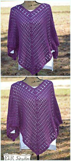 Ideas Crochet Poncho Patrones Ganchillo For 2019 Crochet Bodycon Dresses, Black Crochet Dress, Poncho Crochet, Knitted Shawls, Crochet Poncho With Sleeves, Crochet Vests, Crochet Blouse, Ladies Poncho, Ladies Vests