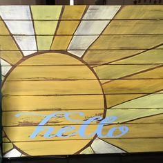 Rustic sun wooden slat sign