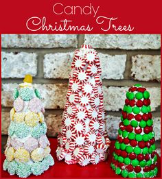 Candy Christmas Trees - Easy holiday craft using royal icing and candy
