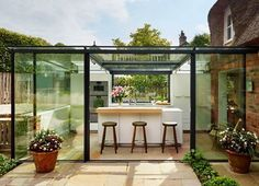 Contemporary glass kitchen extension for classic century cottage in England Architecture Extension, Architecture Renovation, Architecture Design, Architecture Journal, Kitchen And Bath Design, Glass Kitchen, Kitchen Island, Kitchen Grey, Kitchen Cabinets
