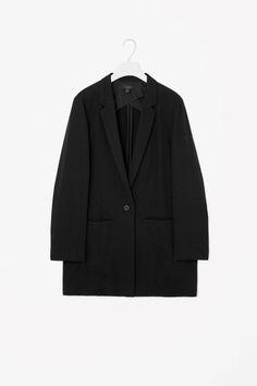 COS image 4 of Long slim-fit blazer in Black