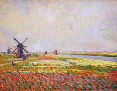 Champs de fleurs et moulins près de Leyde (C Monet - W 1068),1886.