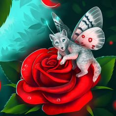 Little spirit of rose bushes. by LunarFerns on DeviantArt Fly Love, Animal Meanings, Wolf Sketch, Wolf Spirit Animal, Wolf Pup, Fairytale Fantasies, Rose Bush, Butterfly Wings, Fantasy World