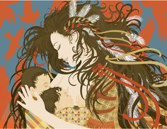 atahensic - iroquois goddess of fertility. Breastfeeding.