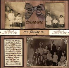 Family ~ traditionally designed page with the look of an old-fashioned scrapbook.Cerra Family ~ traditionally designed page with the look of an old-fashioned scrapbook. Heritage Scrapbook Pages, Scrapbook Page Layouts, Scrapbook Cards, Scrapbooking Vintage, Scrapbooking Ideas, Family History Book, Old Family Photos, Collage, Album Photo