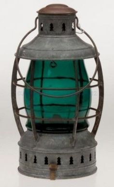 Aqua Blue Antiqued Metal and Glass Bayside Candle Lantern 13 Inches Tall