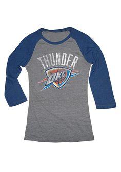 Oklahoma City Thunder Womens Navy and Grey Shield Sleeve Raglan T-Shirt c508191035