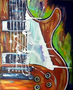 "Original Acrylic Guitar Painting Textured- 16""x20""inches by Kathleen Fenton. $125.00, via Etsy."