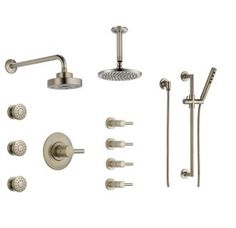 View the Brizo BSS-Odin-T66T04 Sensori Custom Thermostatic Shower System with Wall and Ceiling Showerhead, Volume Controls, Body Sprays, and Hand Shower - Valves Included at FaucetDirect.com.