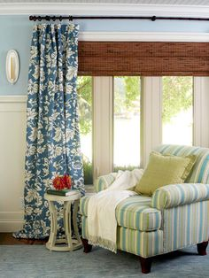 Wainscoting, blinds with curtains combo