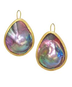 Mexican Mabe Pearl 22k Earrings, Handcrafted, one of a kind Mexican Mabe Pearl (23mm x 29mm) Teardrop Earrings in 22k yellow gold. Incredible rainbow hues.