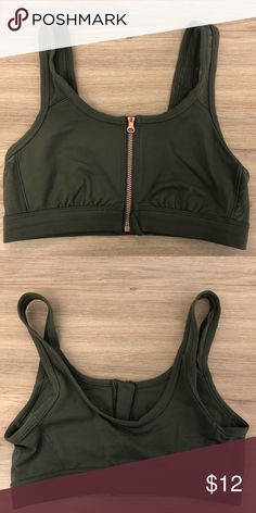 c79a73188902b Aerie Olive Green Sports Bra Aerie Olive Green Sports Bra. Worn once. Rose  gold