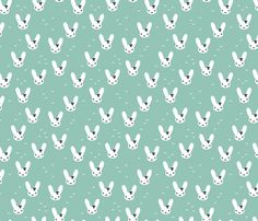 Super cute baby bunny sweet bow rabbit illustration print for kids mint fall- custom fabric and wallpaper inspiration for kids clothes fun fashion and trendy home decorations.