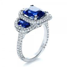 Custom Diamond and Blue Sapphire Engagement Ring   Joseph Jewelry Seattle Bellevue