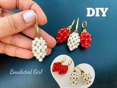 Beaded Earrings Patterns, Bead Earrings, Beading Patterns, Beaded Bracelets, Beading Ideas, Diamond Earrings, Beaded Crafts, Jewelry Crafts, Handmade Jewelry