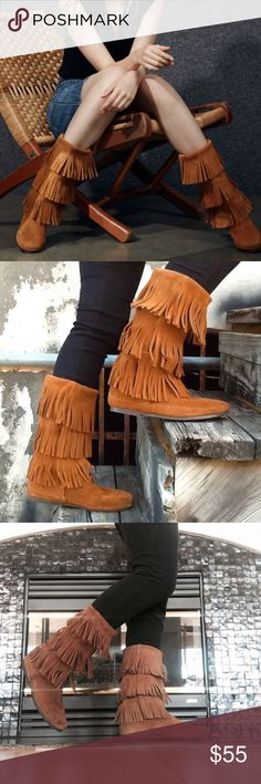Minnetonka 3-Layer Fringe Boot Three tiers of fringe cover the tall shaft of a flat suede boot, trimmed with whipstitching along the seams for subtle detail.  Worn a handful of time with few signs of wear. Minnetonka Shoes Ankle Boots & Booties