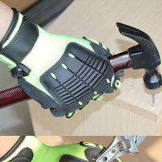 NMSafety 1 Pack Green Working Gloves Safety Shock Absorbing Work Gloves