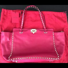 Valentino Rockstuds Totes Brand new with tags and dust bags in dark pink. Some studs are tarnished due to moisture . Please let me know if you need more pictures. Retail $2495. Valentino Bags Satchels