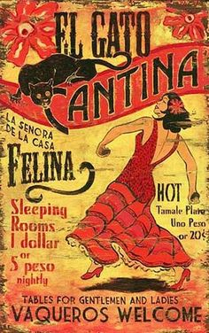 Red Horse Signs - Vintage Signs - El Gato - Large Retro Mexican Cantina Sign (Customized)