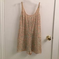 Chloe Oliver beaded romper playsuit New!!! California Brand Chloe Oliver beige short romper, with aqua,pearlized white and iridescent beading. NEW never worn. Chole Oliver Dresses Mini