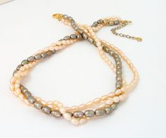 Multi Strand Pearl Necklace  Layered Necklace  by BijiJewelry