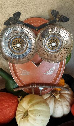 Salvaged Garden Decor OWL Art . Made with Vintage Recycled Parts. Mixed Media Assemblage indoors or outdoors.