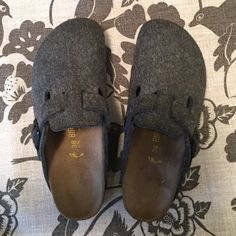 Birkenstock Like New wool clog! These Birkenstocks are like new! I bought them for my daughter, she wore them once,! No wear on them at all!! Great, COMFY & fun! Birkenstock Shoes Mules & Clogs