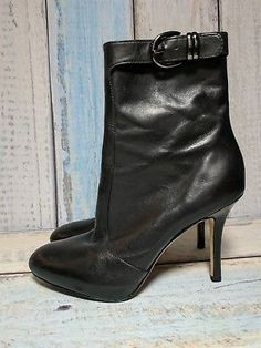 83bb194907b9 VIA SPIGA Womens Sz 7M Black Leather Zip Up Ankle Boots High Heels
