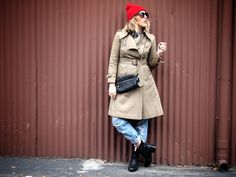 ugg boots, Winter, Trench, Distressed Jeans, Red Beanie