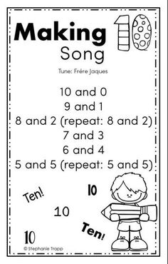 Ideas for making 10 activities to teach students math facts of numbers that add to make ten. Includes free printable making 10 game and song. Math Songs, Kindergarten Songs, Preschool Math, Kindergarten Classroom, Teaching Math, Kindergarten Assessment, Kids Songs, Geek Culture, Second Grade Math