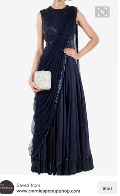 Navy Blue long anarkali dress with draped dupatta Indian Gowns, Indian Attire, Indian Sarees, Fashion Designer, Indian Designer Wear, Indian Wedding Outfits, Indian Outfits, Indian Wedding Guest Dress, Wedding Dresses