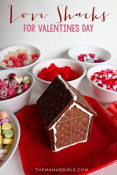"LOVE SHACKS! The best Valentine's Day activity for kids! Great tutorial on how to build the graham cracker ""shacks."""