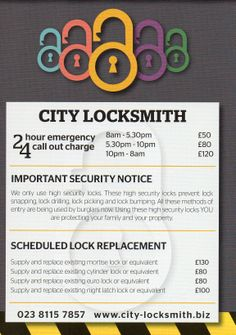 Advertising material from City Locksmith Southampton