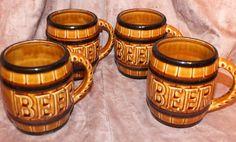 Vintage Beer Barrel Beer Mugs Set Of 4 by MoonbearConnections