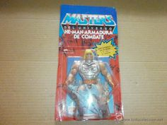 masters del universo en blister he-man armadura de combate mattel 1985 made and printed in spain - Foto 1