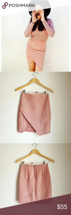 """LF pastel blush high waisted faux suede boho skirt New with tags   LF pastel rose / blush high waisted faux suede stretch wrap skirt. Size Small. Due stretchy fabric, would fit XS/S.  Beautiful fit and gorgeous color. It makes your waist look tiny tiny and accentuates  back area rrrreally nicely <3  Measuraments taken across without stretching:  Waist: 12"""" Hip: 14 1/2"""" Lenght: 17""""  ? Price is firm, unless bundled  ? 15% off on bundles    lf pastels baby powder pink suede soft highwaisted…"""