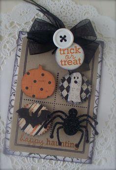 Vintage Halloween Button Tag Embellishment