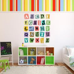 Alphabet Wall Decal | Wall Decal World| A fun way to display the alphabet for a teacher or just in a nursery or playroom