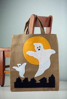 Happy Halloween Burlap Ghost Trick or Treat Bag