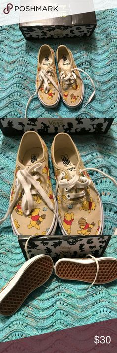 Kids Winnie the pooh vans EUC worn twice. My daughter doesn't like them size 1 comes with original van box. Please look at all pictures and ask any questions prior to purchasing. Offers welcomed. Vans Shoes Sneakers