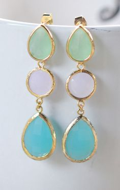 Long Gold Mint Post Jewel Earrings in Pink Mint