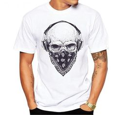 Skull Headphones Short Sleeve Tee - Skullflow    https://www.skullflow.com/collections/mens-skull-clothing/products/skull-headphones-short-sleeve-tee