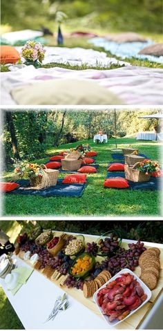 """Another pinner posted: """"You have lots of options with the Picnic Wedding. As mentioned earlier, you could use Traditional Tables and Chairs or spice it up a little and use Picnic Benches or even Picnic Blankets! Wedding Seating, Wedding Reception, Our Wedding, Wedding Ideas, Kauai Wedding, Ceremony Seating, Wedding Set, Outdoor Seating, Reception Ideas"""