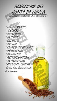 El aceite de linaza posee una excelente concentración de ácidos grasos omega. Los ácidos grasos omega 3 son indispensables para una buena salud del corazón, mantener una presión arterial estable y saludables niveles de colesterol en la sangre. Además, los ácidos grasos omega 3 también ayudan a mantener una buena salud del cerebro para que desarrollen sus funciones correctamente y proporciona un buen estado de ánimo.El ácido alfa-linolénico, perteneciente a los ácidos grasos omega 3, Holistic Nutrition, Health And Nutrition, Health Tips, Natural Medicine, Herbal Medicine, How To Make Oil, Organic Living, Juice Smoothie, Health Remedies